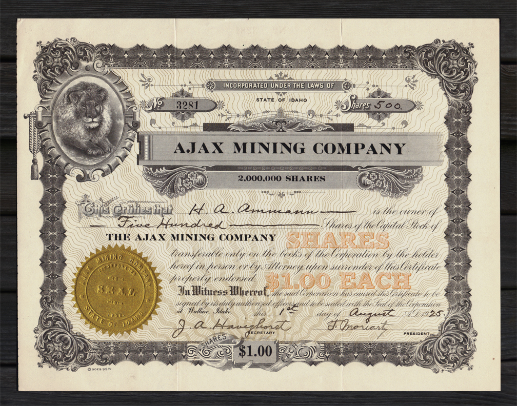 1925 george gulch idaho ajax mining co stock certificate for Burke and wallace silversmiths