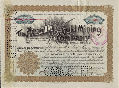 1896 THE ACACIA GOLD MINING COMPANY