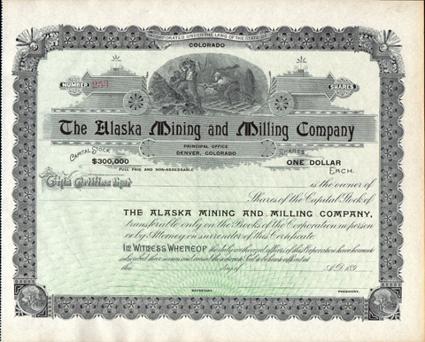 1890s THE ALASKA MINING AND MILLING COMPANY - Ward - Boulder County, Colorado
