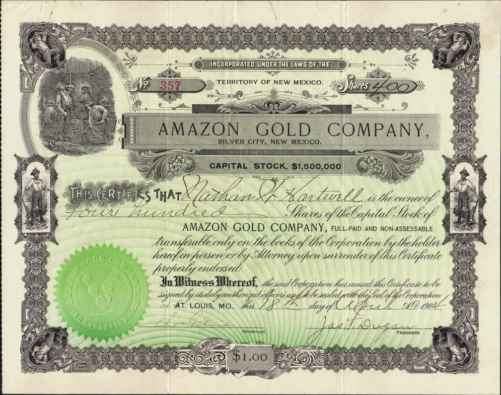 Santa Fe Gold Corp Stock Quote: New Mexico Mining Stock Certificates