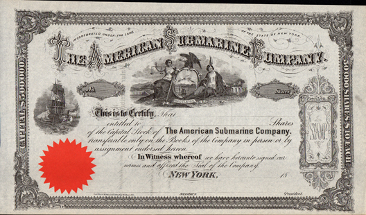 1860s THE AMERICAN SUBMARINE COMPANY - New York
