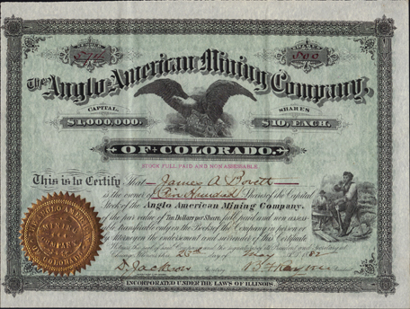 1882 THE ANGLO AMERICAN MINING COMPANY of COLORADO - Summit County, Colorado