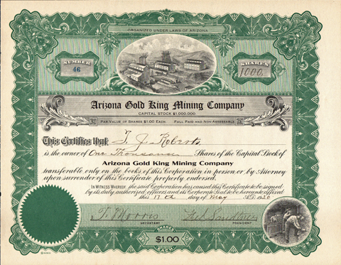 1920 ARIZONA GOLD KING MINING COMPANY - Bisbee, Arizona