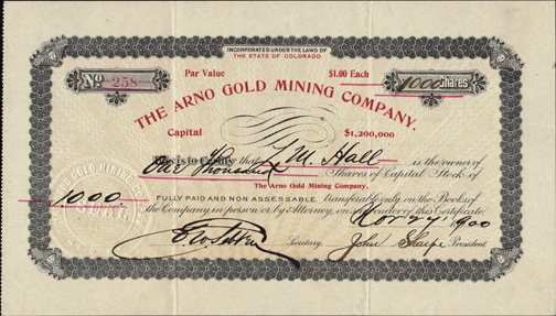 1900 THE ARNO GOLD MINING COMPANY - Anaconda, Colorado