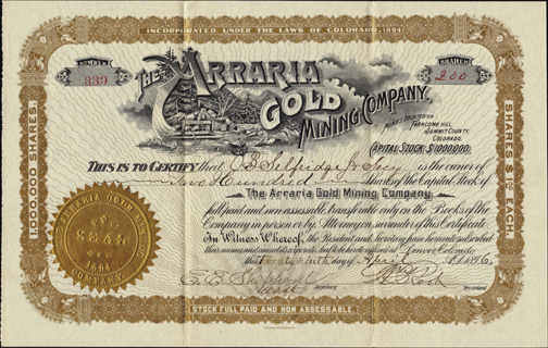 1896 THE ARRARIA GOLD MINING COMPANY - Summit County, Colorado