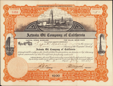 1923 ARTESIA OIL COMPANY OF CALIFORNIA - Gushing Oil Wells