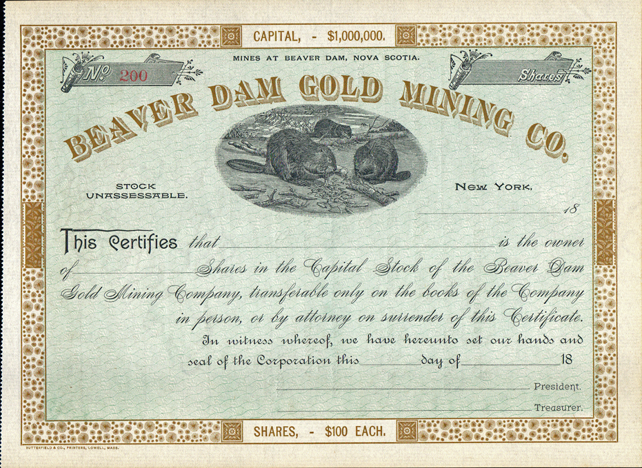 Canadian Mining Stock Certificates