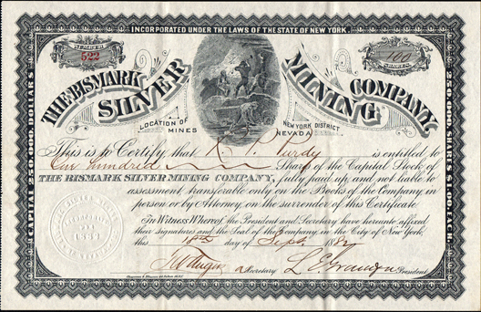 1882 THE BISMARK SILVER MINING COMPANY - New York District, Nevada