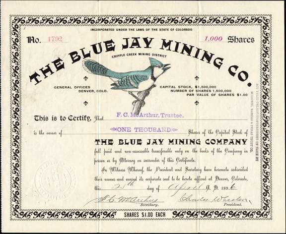 1896 THE BLUE JAY MINING COMPANY - Cripple Creek, Colorado
