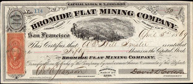 1869 BROMIDE FLAT MINING COMPANY - White Pine District, Nevada