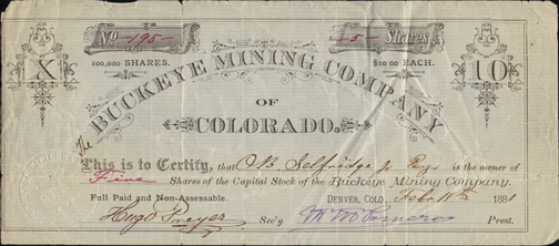 1881 BUCKEYE MINING COMPANY of COLORADO - Eagle County