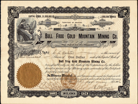 1906 BULL FROG GOLD MOUNTAIN MINING COMPANY - Bullfrog Mining District, Nevada - Office at Goldfield - Nye County
