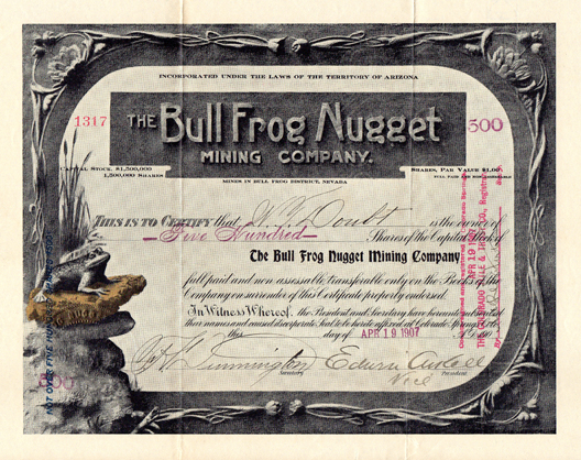 1907 THE BULL FROG NUGGET MINING COMPANY - Bull Frog District, Nevada