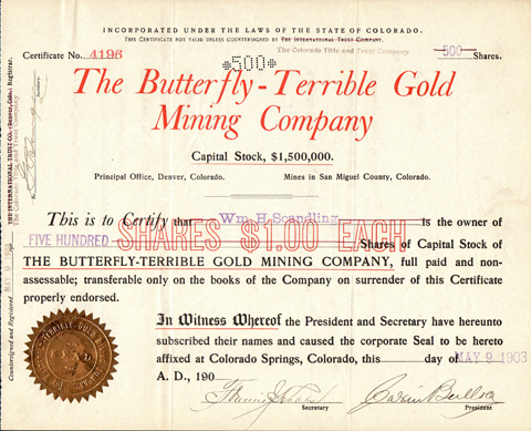 1903 THE BUTTERFLY TERRIBLE GOLD MINING COMPANY - San Miguel County, Colorado
