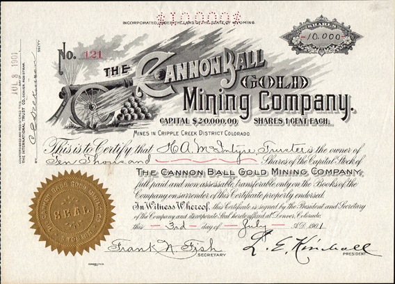 1901 THE CANNONBALL GOLD MINING COMPANY - Teller County, Cripple Creek, Colorado