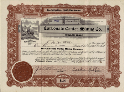 1916 CARBONATE CENTER MINING COMPANY