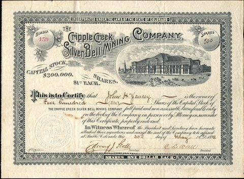 1892 THE CRIPPLE CREEK SILVER BELL MINING COMPANY - Colorado