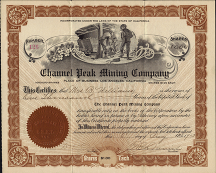 1913 CHANNEL PEAK MINING COMPANY - Plumas County, California