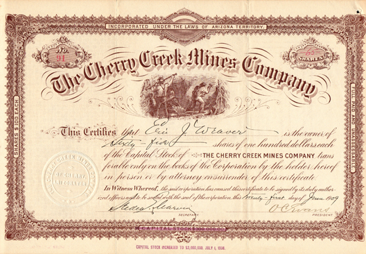 1909 THE CHERRY CREEK MINES COMPANY - Yavapai County - Cherry, Arizona Territory