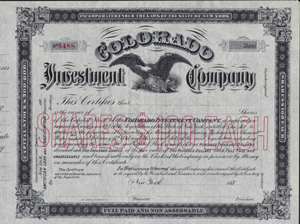 1880s COLORADO INVESTMENT COMPANY