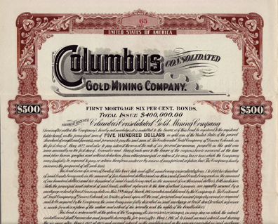 1907 COLUMBUS CONSOLIDATED GOLD MINING COMPANY