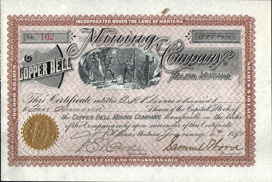 2 different Stock certificate Anaconda Copper Mining Company State of Montana