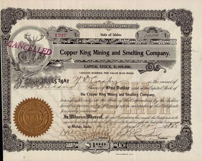 1908 COPPER KING MINING & SMELTING COMPANY