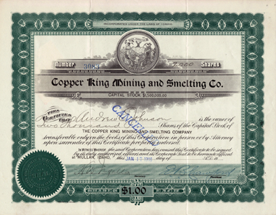 1916 COPPER KING MINING & SMELTING COMPANY