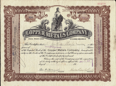 1910 COPPER METALS COMPANY - Arizona