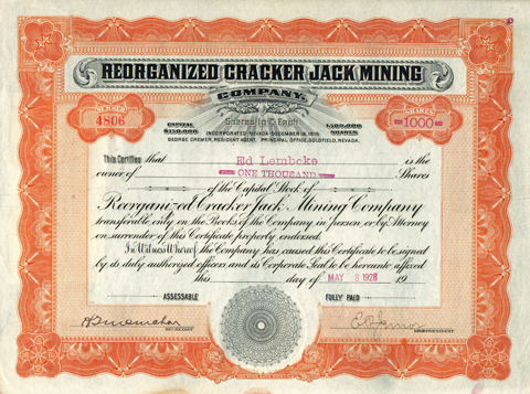 1926 REORGANIZED CRACKER JACK MINING COMPANY - Goldfield, Nevada