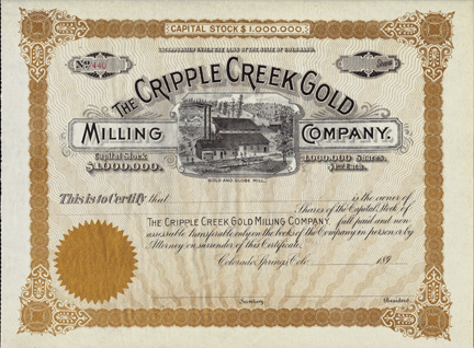 1890s THE CRIPPLE CREEK GOLD MILLING COMPANY - Gold and Globe Mill - Colorado