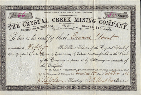 1880 THE CRYSTAL CREEK MINING COMPANY of COLORADO