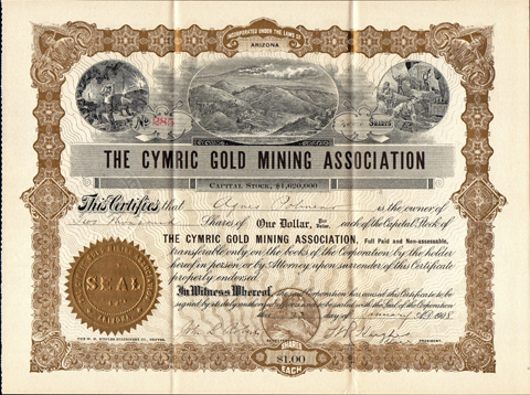 1908 THE CYMRIC GOLD MINING ASSOCIATION - Clear Creek County, Colorado