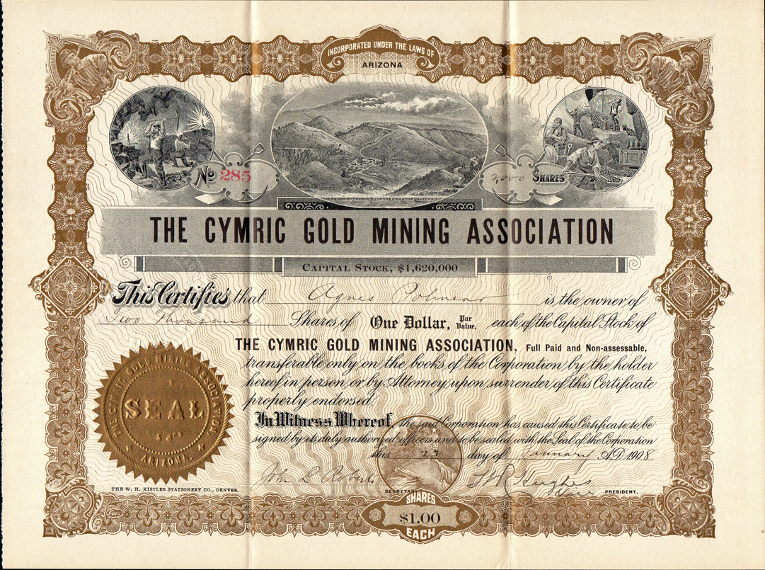 Colorado mining stock certificates page 2 1908 the cymric gold mining association clear creek county colorado 1betcityfo Images
