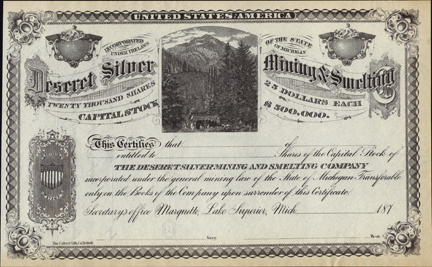 1870s DESERET SILVER MINING AND SMELTING COMPANY - Marquette, Lake Superior, Michigan