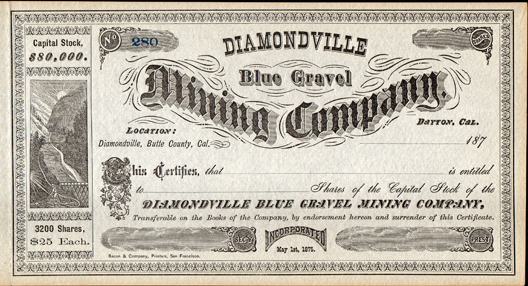 1870s DIAMONDVILLE BLUE GRAVEL MINING COMPANY - Butte County, California
