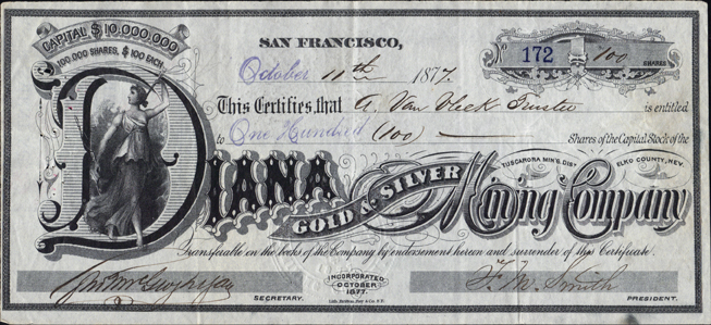 1877 DIANA GOLD AND SILVER MINING COMPANY - Tuscarora District, Elko County, Nevada