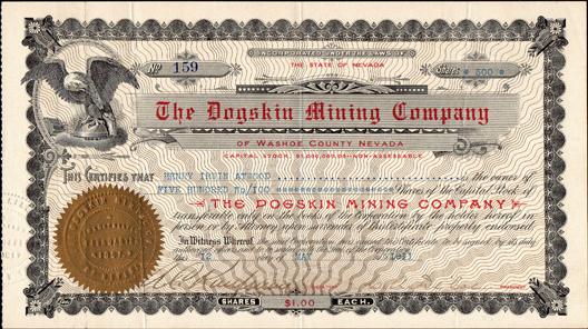 1911 THE DOGSKIN MINING COMPANY - Washoe County, Nevada