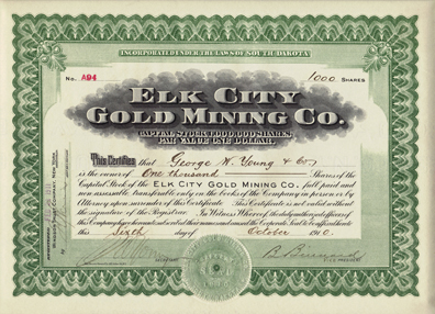 1910 ELK CITY GOLD MINING COMPANY - Idaho