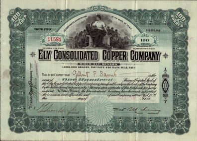 1910  ELY CONSOLIDATED COPPER COMPANY