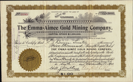 1901 THE EMMA AIMEE GOLD MINING COMPANY - Cripple Creek Mining District, Colorado