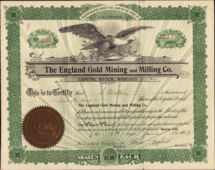 1903 THE ENGLAND GOLD MINING AND MILLING COMPANY - Clear Creek County, Colorado