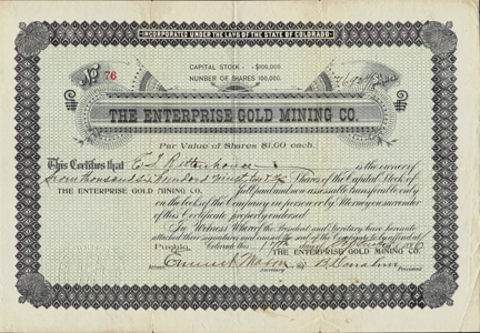 1896 THE ENTERPRISE GOLD MINING COMPANY - Pueblo, Colorado