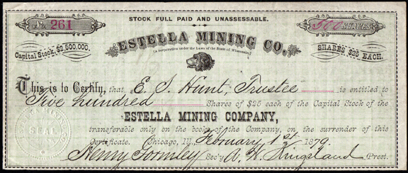 1879 ESTELLA MINING COMPANY - Incorporated Wisconsin - Office Chicago, Illinois