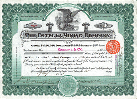 1911 THE ESTELLA MINING COMPANY - Denver, Colorado