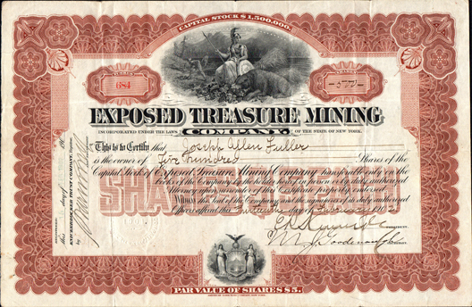 1902 EXPOSED TREASURE MINING COMPANY - Mojave District, Kern County, California