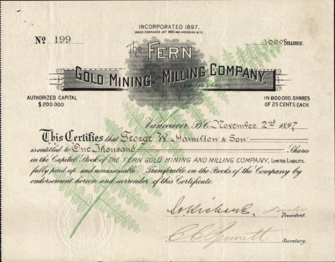 1897 THE FERN GOLD MINING COMPANY - Nelson, British Columbia, Canada