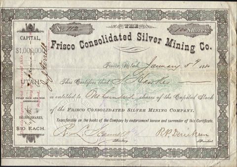 1880 THE FRISCO CONSOLIDATED SILVER MINING COMPANY - Frsco, Utah