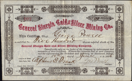 1886 GENERAL STURGIS GOLD AND SILVER MINING COMPANY - Dakota Territory