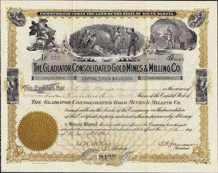 1902 THE GLADIATOR CONSOLIDATED GOLD MINES AND MILLING COMPANY - Black Hills - South Dakota